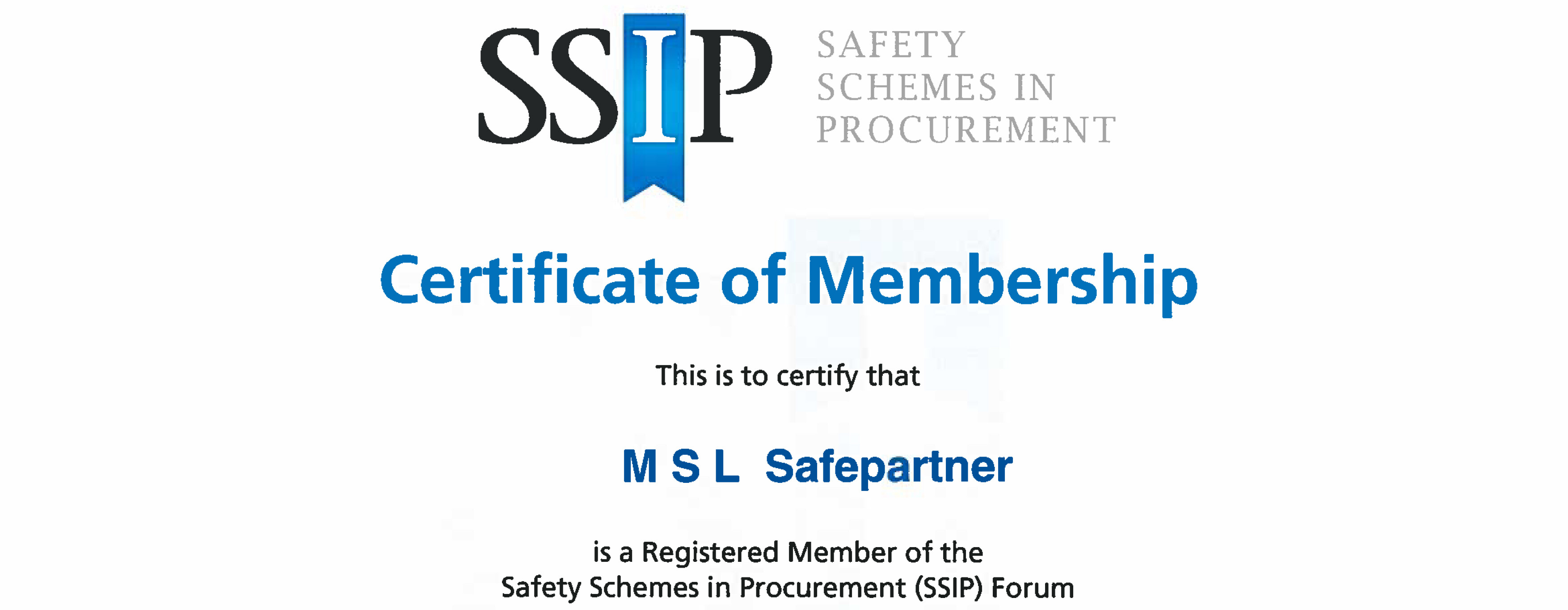 MSL Safepartner Certificate