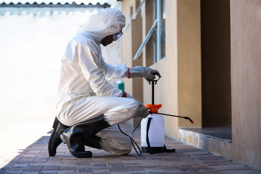 Person in hazmat suit spraying insects