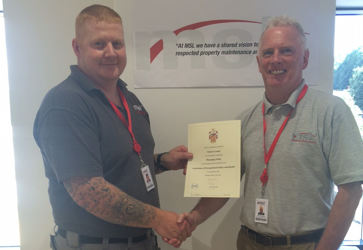 Martyn Lumb Achieves IOSH Managing Safely Certification
