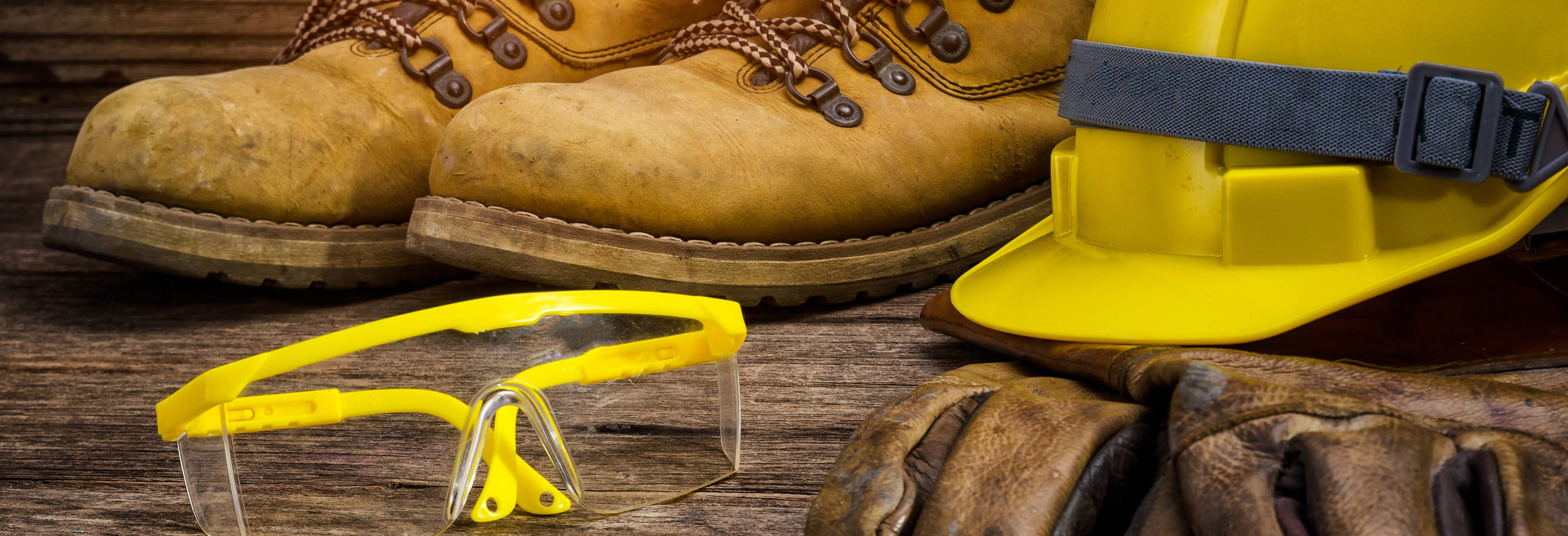 Construction Clothing on wooden floor