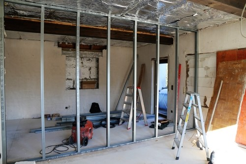 Partition Wall Mid-Construction