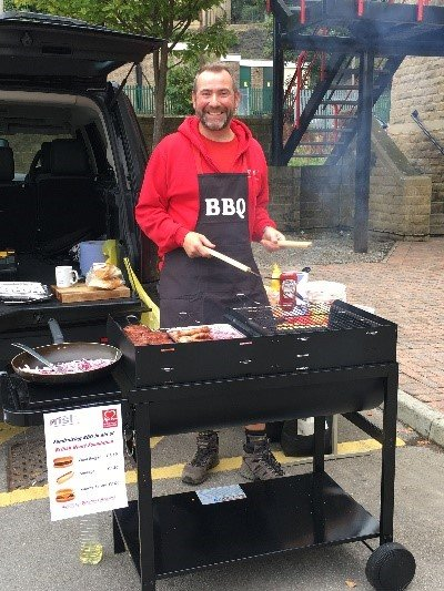 Man BBQing for charity