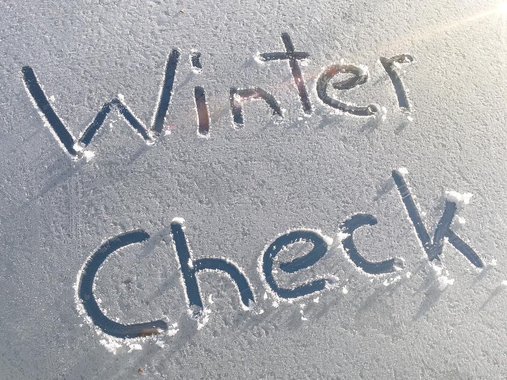 Winter Check written on windscreen